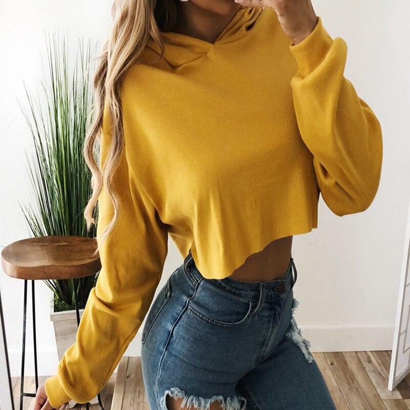 Пуловер В Стиле Хип-хоп, укороченный топ, модная женская короткая толстовка, толстовки, однотонный джемпер с длинным рукавом, пальто с