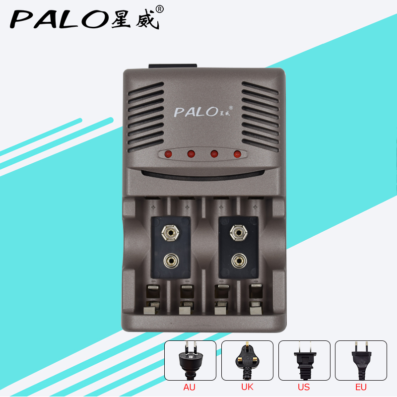 PALO Fast Smart LED <font><b>battery</b></font> Charger For <font><b>AA</b></font> AAA Rechargeable <font><b>batteries</b></font>& NI-MH 9V 6F22 <font><b>300mah</b></font> <font><b>Battery</b></font> portable universal charger image