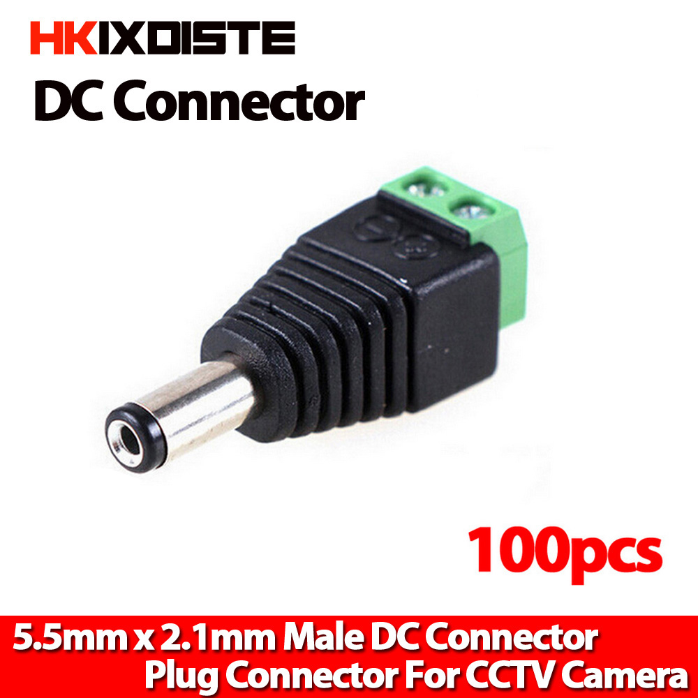 100pcs 2.1 x 5.5mm 12V DC Power Male  Jack Adapter Connector for CCTV Camera,