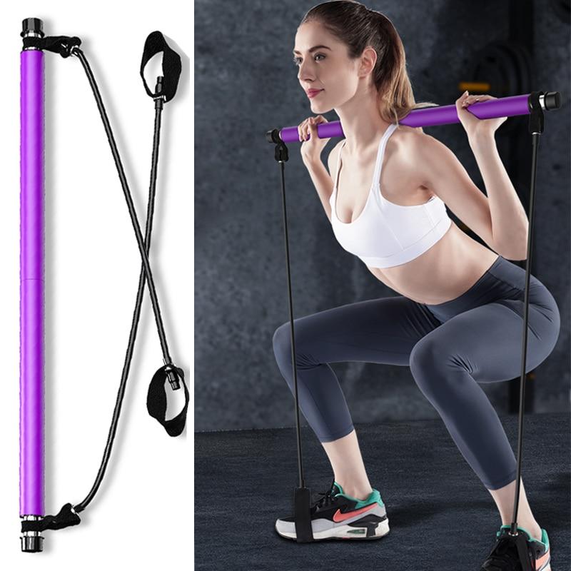 1PC Pilates Stick Yoga Resistance Bands Gym Equipment Elastic Bands Fitness Training Body Crossfit Gym Rubber Tube Yoga Pilates 1