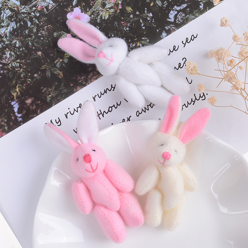 6cm Cute Soft Plush Rabbit Bunny Dolls Key Bag Pendants Couple Bear Rabbit Plush Keychain Lovers Friends Gift
