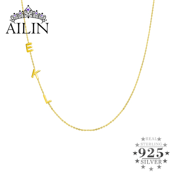 AILIN Sterling Silver 925 Custom Initial Necklace With Letter Name 18K Gold Plated Personalized Necklace Women Gifts Jewelry real sterling silver initial letter amour necklace red coral shell choker zircon name pendant for women brand monaco jewelry