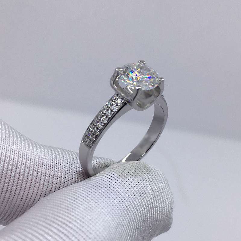 Big 98% OFF! Authentic 100% 925 Sterling Silver 8mm 2.0ct Zirconia Diamond Ring Wedding Fine Jewelry 2020 New Design 5