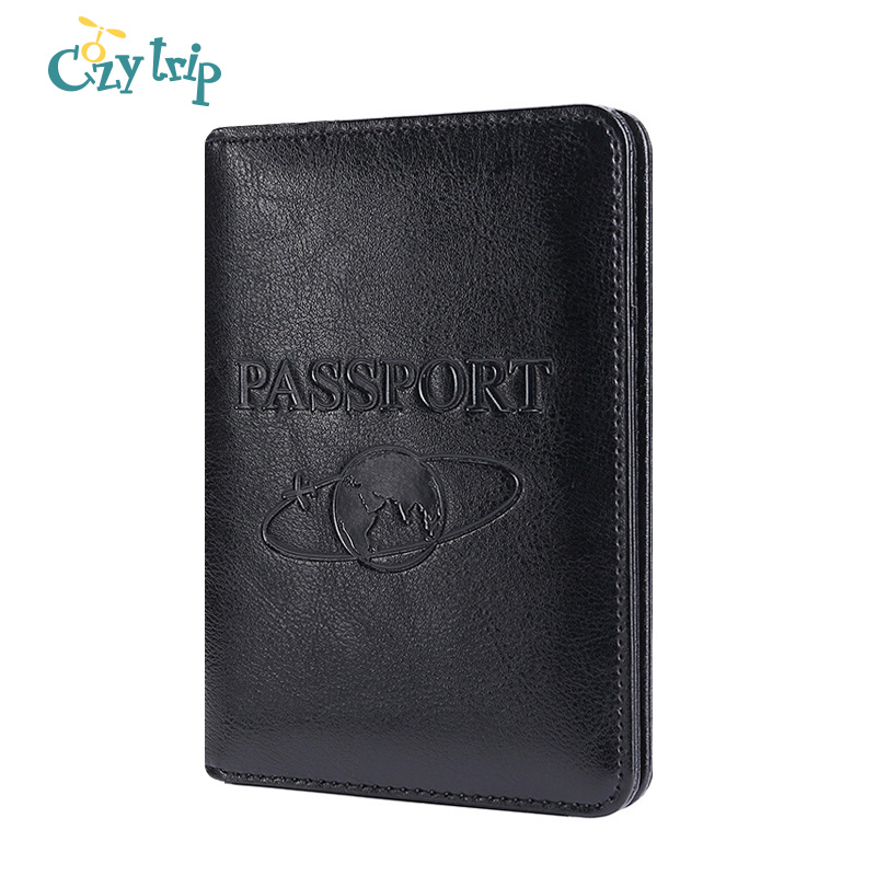 Genuine Leather Passport Holder Cowhide Wallet RFID Blocking ID Card Case Travel Passport Cover For Men And Women