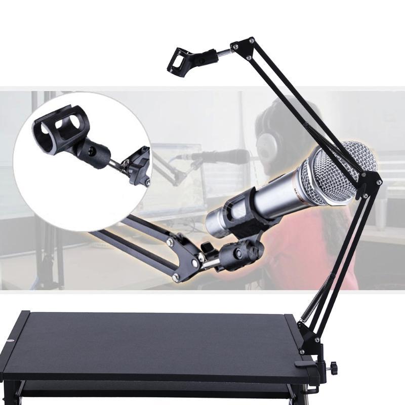 Universal Microphone Stand Holder Bracket Mic Stand Professional Desktop Mic Bracket Ajustable Metal Holder For Live Broadcast
