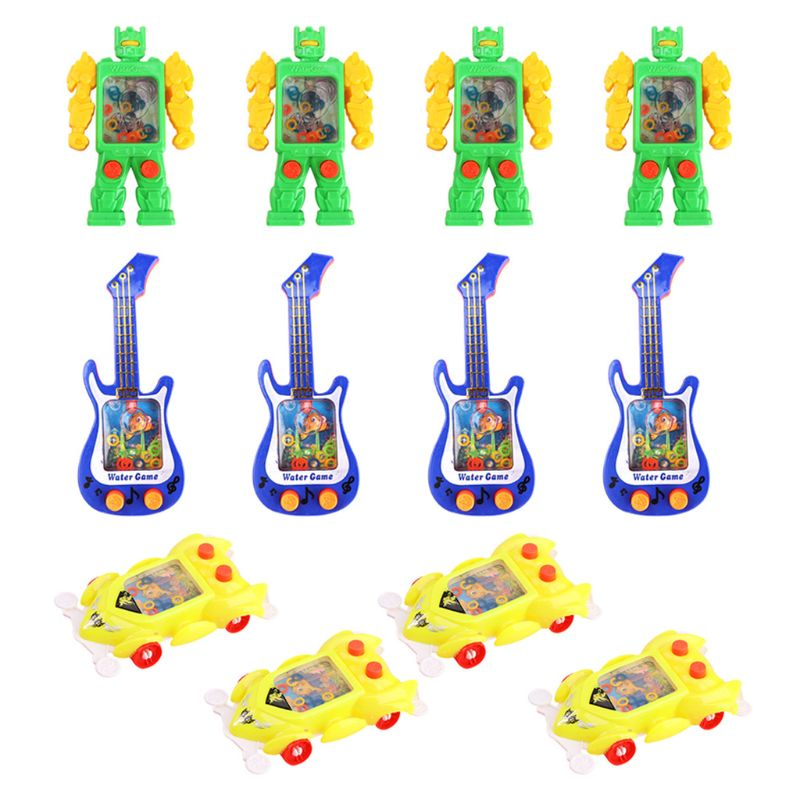 HBB 12Pcs/set Baby Kids Novelty Toy Cartoon Robot Guitar Car Shape Water Ring Game Machine Handheld Parent-Child Retro Toys Gift