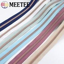 4 metros 5 # colorido pano rosa ouro dentes plástico bobina zíperes saco de zíper de náilon para costura diy zips acessórios de vestuário