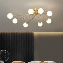 Nordic feijão mágico luz de teto moderno lustre bola vidro dourado para sala estar quarto cozinha iluminação luminária