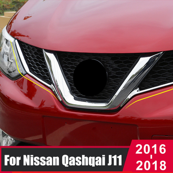 ABS cromado para rejilla delantera del coche, pegatina a rayas para parachoques, funda de rayas, pegatinas para Nissan Qashqai J11 2016 2017 2018, accesorios
