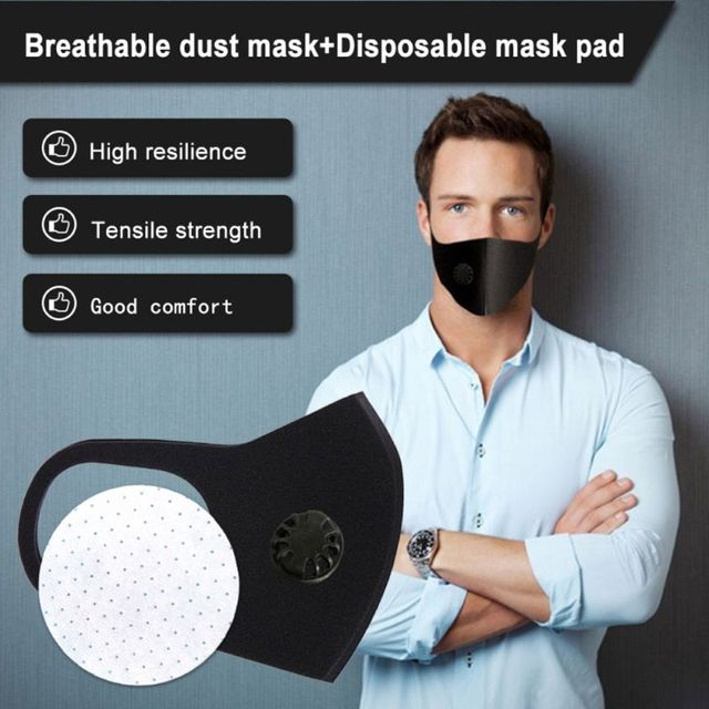 3Pcs Anit-Flu Protective Double Air Filtering Face Mask Anti Dust Smoke Reusable Mouth Mask Breathable Washable Unisex 4