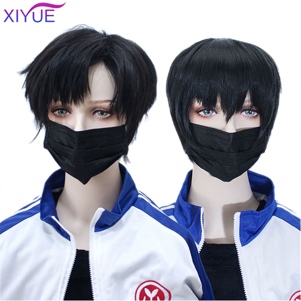 XIYUE Short Straight Men Boy Wig Ombre Grey Brown Synthetic Wig for Cosplay Male Hair Fleeciness Realistic Natural Toupee Wigs
