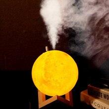 880ml אולטרסאונד אוויר אדים 3D ירח מנורת אור חיוני שמן ארומה מגניב ערפל יצרנית לבית USB חשמלי ארומה אוויר מפזר