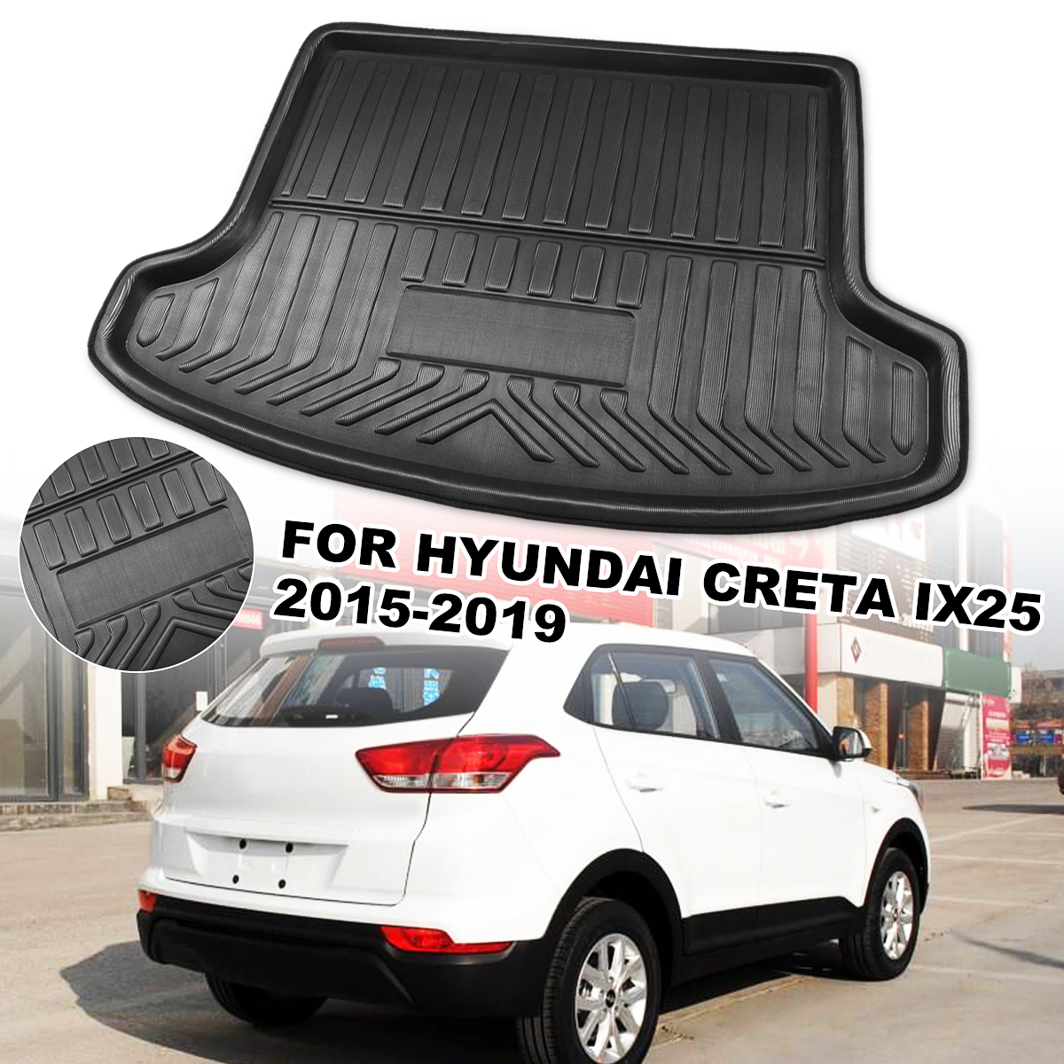 Car Cargo Liner Boot Tray Rear Trunk Cover Matt Mat Floor Carpet Kick Pad For Hyundai Creta ix25 2015 2016 2017 2018 2019|  - title=