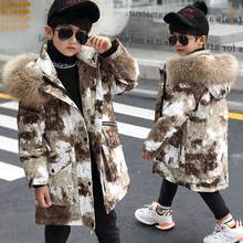 30 градусов Детское зимнее пальто для комуфляжной расцветки для мальчиков, зимняя куртка для мальчика Белые парки с гусиным пухом с натуральным мехом для маленьких мальчиков, детская одежда
