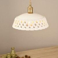 LukLoy LED Handmade Ceramic Pendant Light Copper Hanging Lamp Ceramics Clothing Light Bedside Bar Light Loft Lamp White Lighting