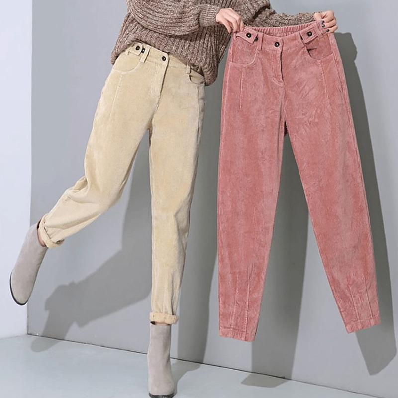 Harem Pants Warm-Trousers Velvet Loose Girls High-Waist Long-Plus Winter Corduroy Casual title=