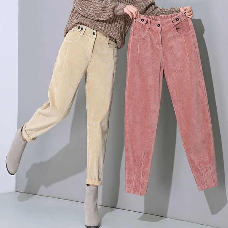 Pantalones Bombachos De Pana Para Mujer Y Nina A La Moda De Cintura Alta Pantalon De Chandal Informales Sueltos Largos Calidos De Terciopelo Otono E Invierno Pantalones Y Pantalones Capri Aliexpress