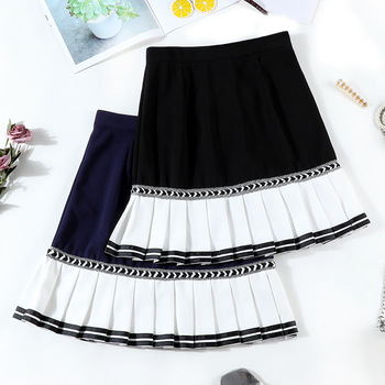2020 New Mosaic Chiffon Pleated Skirt Contrasting Color Academic Pleated Skirt short skirt goth fashion A-Line Above Knee 2020 new mosaic chiffon pleated skirt contrasting color academic pleated skirt short skirt goth fashion a line above knee