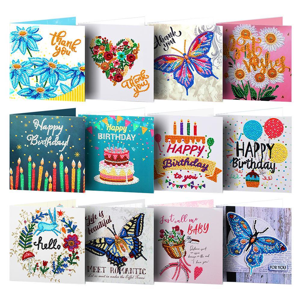 Cartões de pintura de diamante cartões de feliz aniversário 5d diy cartões de pintura de diamante especiais cartões de aniversário presente de natal para meninas