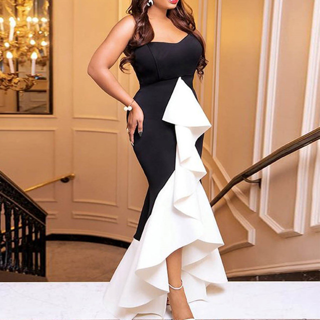 White And Black Mermaid Long Evening Dresses Short Front Long Back Formal Evening Gown With Stretch Plus Size Dress ESAN235 5