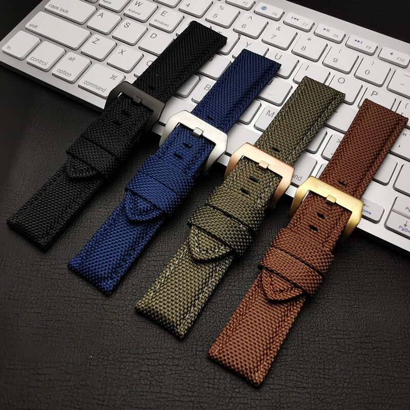 22mm 24mm 26mm Black Blue Brown Blue Canvas Nylon fabric leather watch band Bracelet Buckle Clasp For Panerai strap tools free(China)