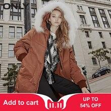 Down Collar Fur Jacket|118312530