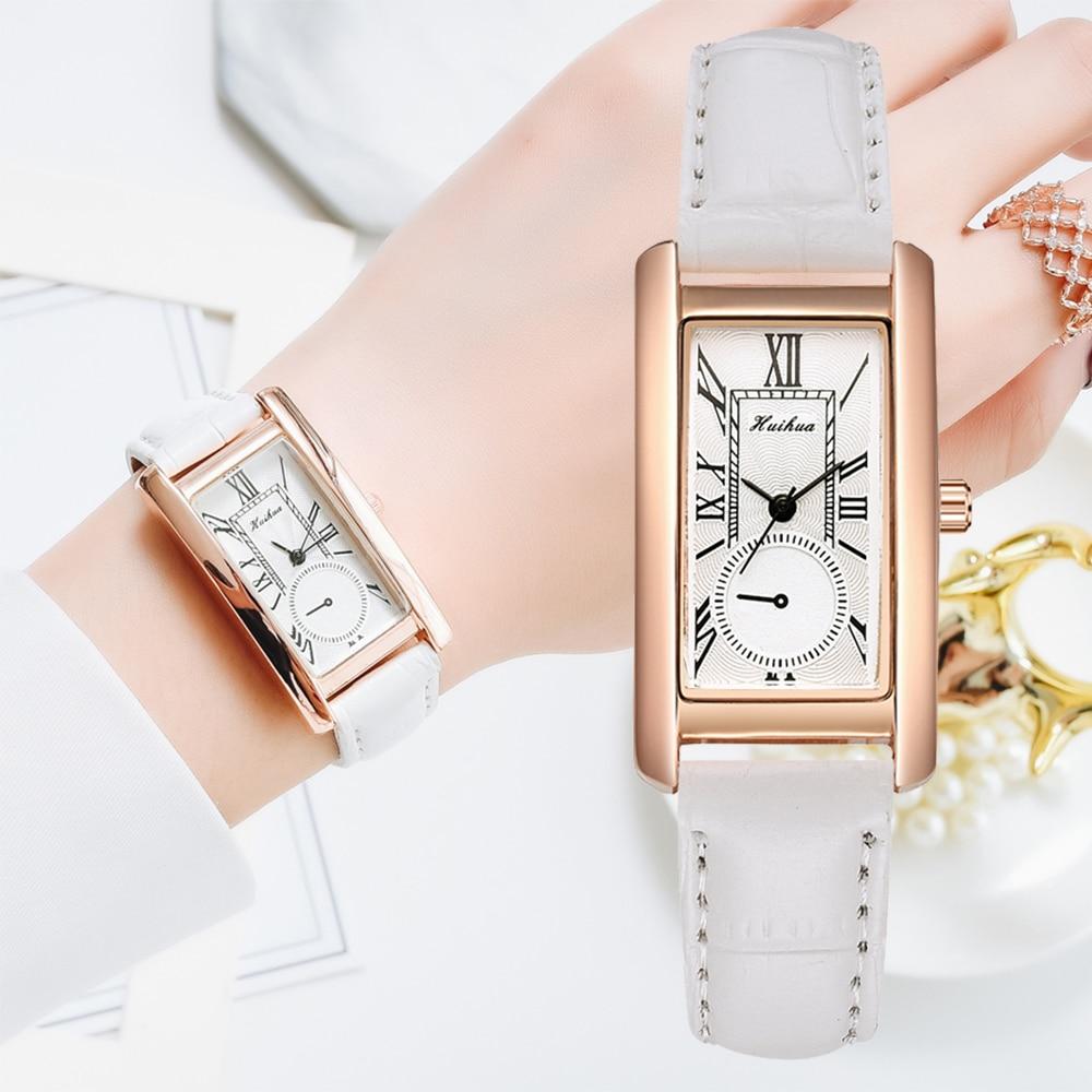 Fashion Watch For Women Dress Leather Rectangle Ladies Bracelet Watch Simple Casual   Female Quartz Women White Wrist Clock Gift
