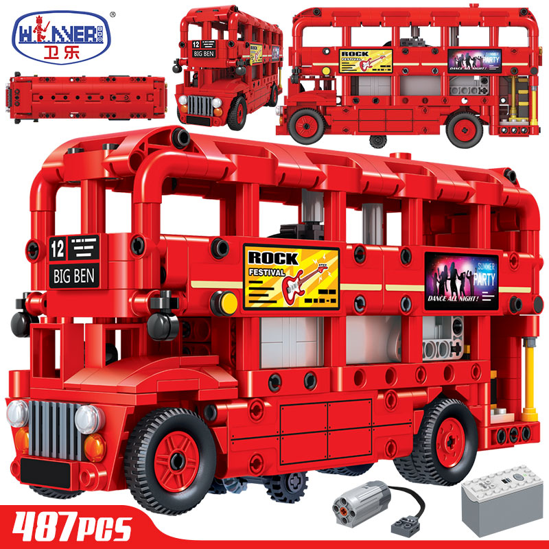ERBO doble capa eléctrica Londres autobús de bloques de construcción de la ciudad de técnica coche ladrillos creadores juguetes educativos para los niños