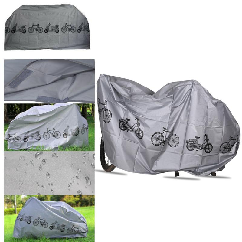 Grey Polyester Durable Bicycle Cover Waterproof Rainproof Rain Dust Cover For Outdoor Travel Hiking Cycling Camping Hiking
