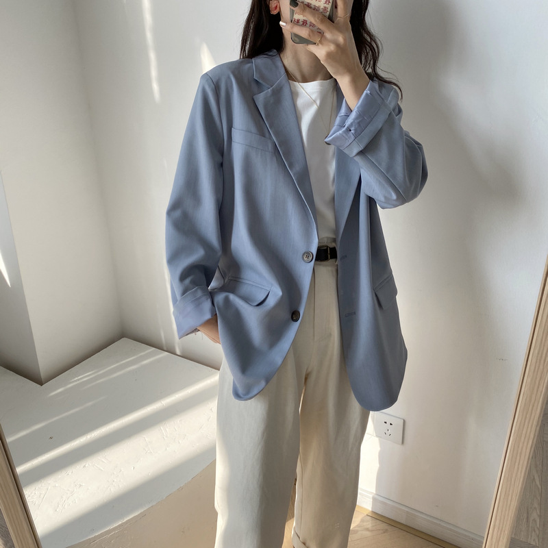 2020 New Pure Color Elegant Women Blazer Turn Down Collar Women Spring Coat Casaco Feminino Casual Tops For Women