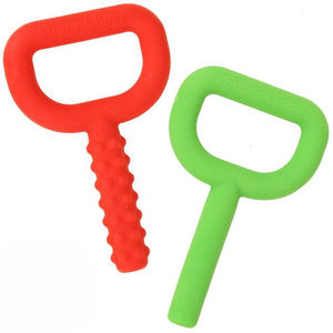 2PCS Silicone Knobby Chew Toys Smooth Textured Key Shape Teether Super Chewing Tube Sensory Tool for Autism Special Needs(China)