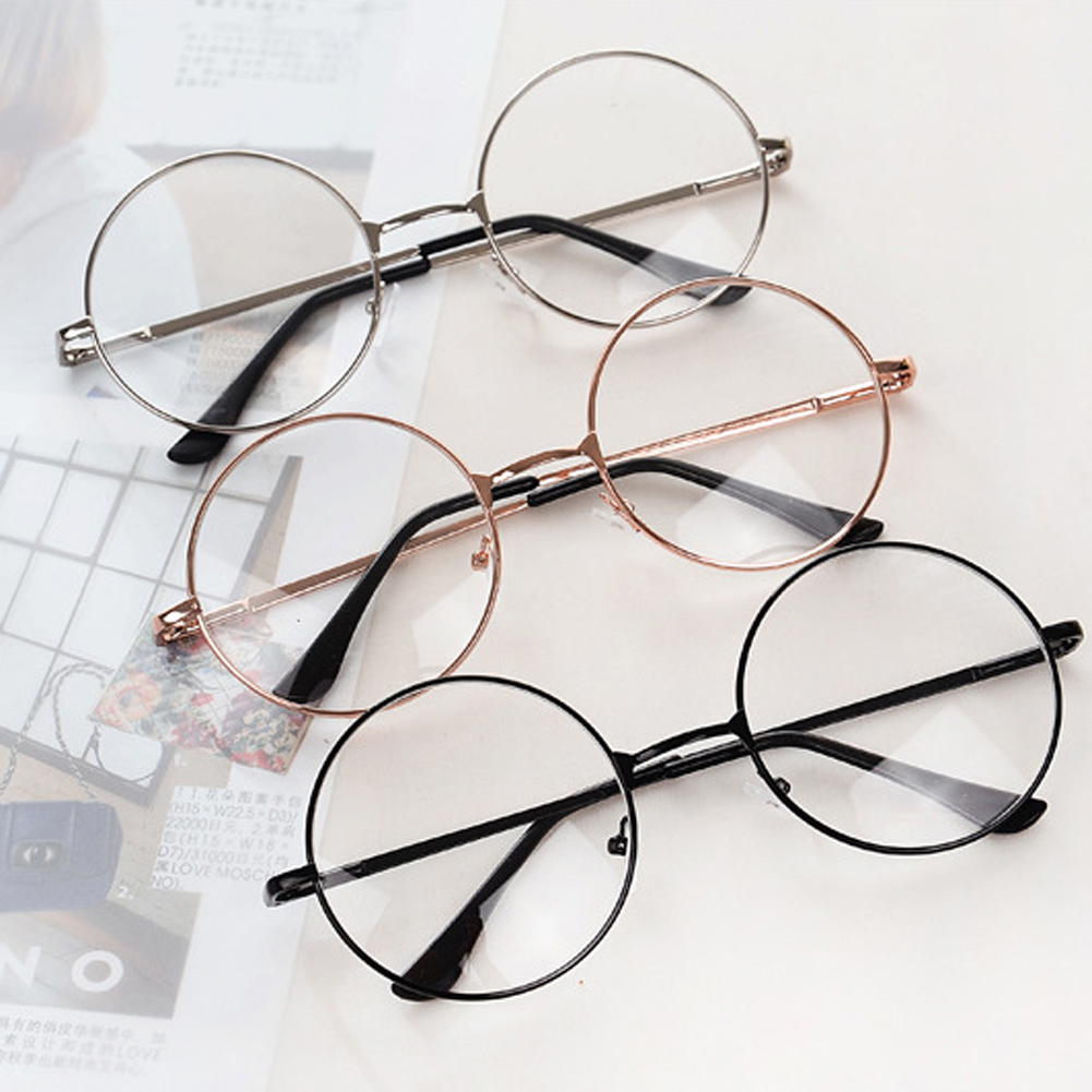 Vintage Retro Metal Frame Clear Lens Glasses Fashion Eyewear Eyeglasses Black Oversized Round Circle Eye Glasses