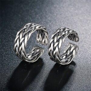Image 3 - V.YA Große Größe Thai Silber Ring Für Männer Frauen 925 Sterling Silber Ring Weben Form Hochzeitstag Edlen Schmuck