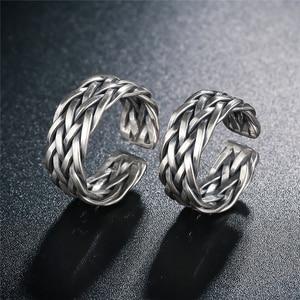 Image 3 - V. Ya Big Size Thai Zilveren Ring Voor Mannen Vrouwen 925 Sterling Zilveren Ring Weave Vorm Huwelijksverjaardag Fijne Sieraden