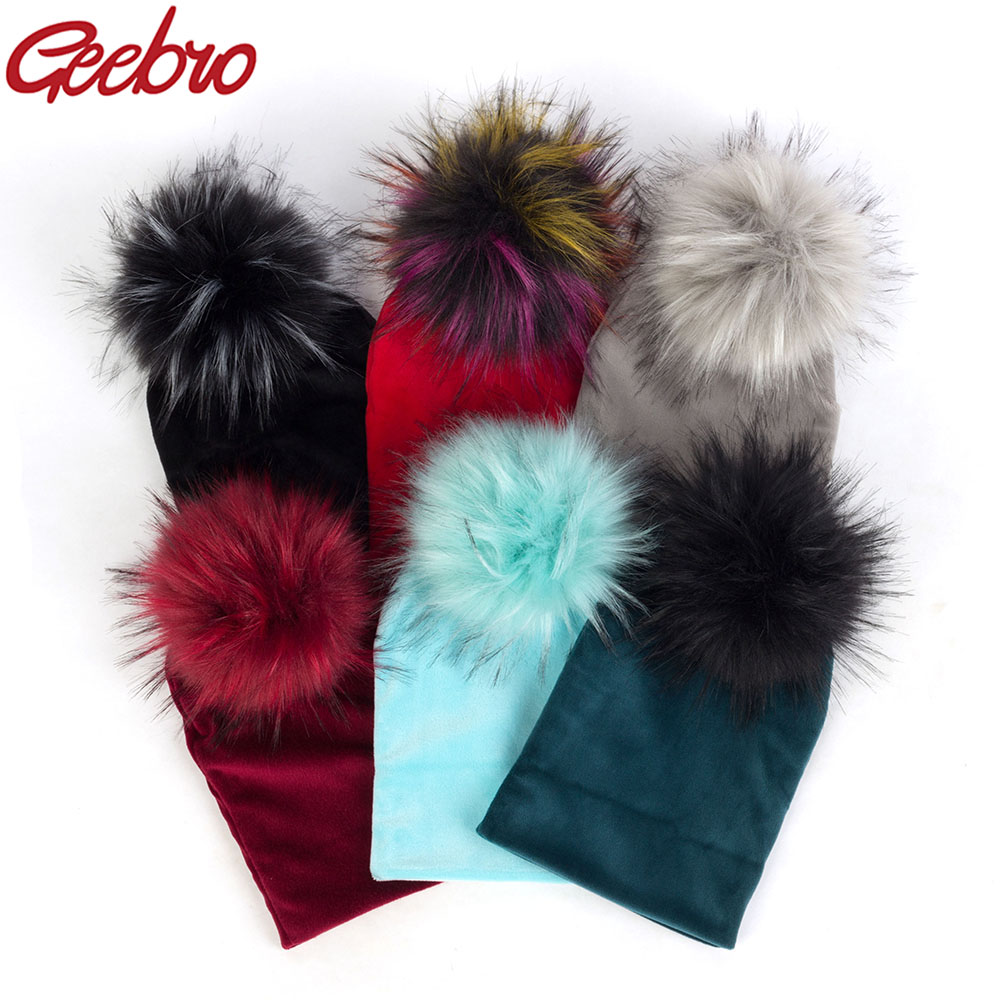 Geebro Winter Warm Fashion Cute Baby Girls Boys Velvet   Beanie   Hats Ins Solid Soft Thick Flannel Babies Kids Real Fur Pom Pom Hat