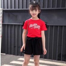 Детская одежда Одежда для девочек летняя футболка и шорты из чистого хлопка г. Горячая Распродажа, модная детская одежда из двух предметов для От 3 до 10 лет