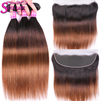 Ombre Peruvian Straight Hair Bundles With Frontal Closure Blonde Nonremy Human Hair Weave 13x4 Lace Frontal Closure With Bundles