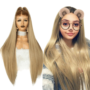 Image 1 - Anogol High Temperature Fiber Peruca Long Straight Synthetic Hair Wig Brown Ombre Ash Blonde Swiss Lace Front Wigs for Cosplay