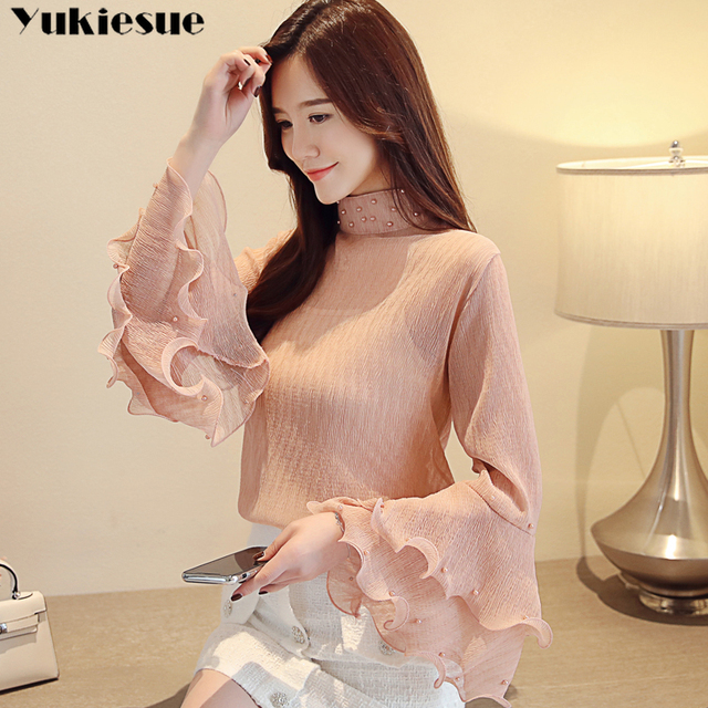 woman blouses 2021 summer flare sleeve beading women's shirt blouse for women blusas womens tops and blouses chiffon shirts 3