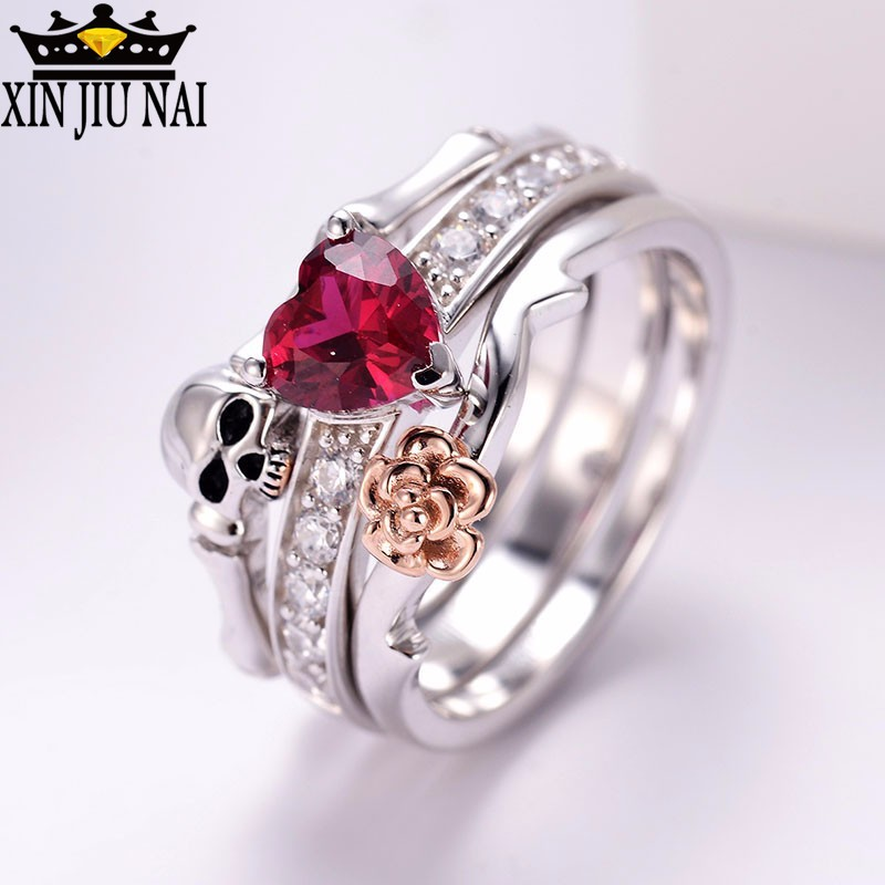 Two Halloween accessory punk skeleton rings, female Red Crystal Skull Black Silver creative stacked male ring gemstone ring