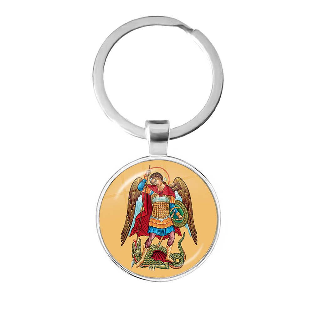 Hot St. Michael Me Proteger Santo Justiça do Escudo de Proteção Da Corrente Chave Chaveiro Moda Chaveiro Talismã Sagrados Cristãos Presentes