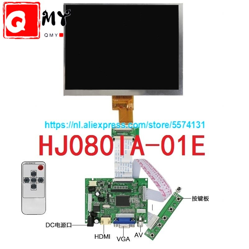8 Inch Lcd Screen HJ080IA-01E 1024*768 IPS Hd LCD Display + HDMI/VGA/AV Control Driver Board