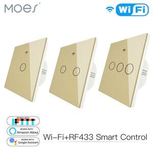 Wifi inteligente painel de vidro interruptor tuya app controle remoto trabalhar com alexa eco google casa rf433 tipo ue ouro toque 1/2/3 gang