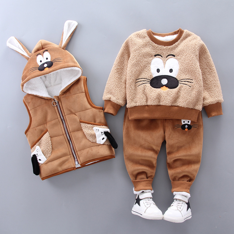 0-4 years old winter new baby boy clothes warm clothes baby girl cartoon plus velvet thick hooded sweater three-piece baby suit 3