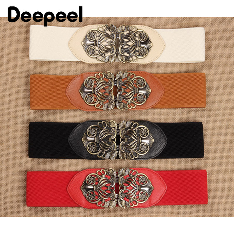 Deepeel 1pc High-quality Elastic Cummerbunds Wide Belts For Women Vintage Carved Buckles Stretch Band Belt Coat Decoration CB040