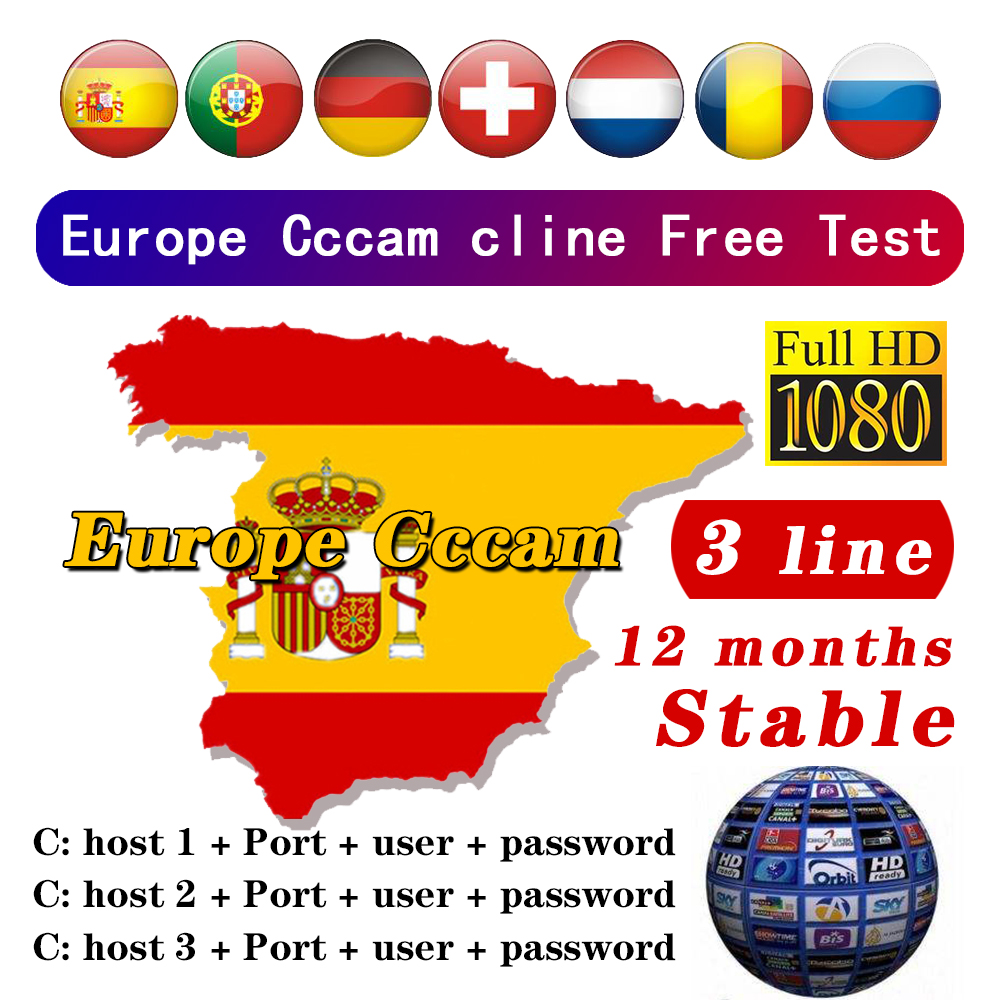 24 Months Stable Cccam Clines For Europe Spain Portugal Germany Poland Satellite Tv Receiver FULL HD DVB-S2 Support 3 Lines Ccam
