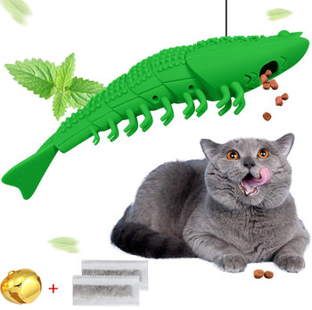 Soft Natural Rubber Mint Fish Catnip Clean Teeth Toothbrush Oral Care