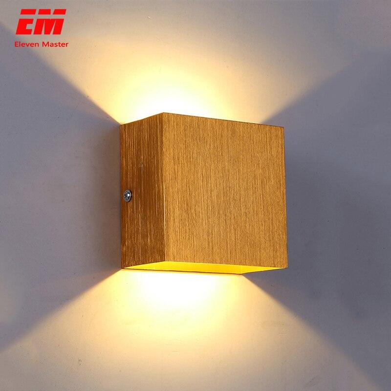 Espiga cubo conduziu a lâmpada de parede de iluminação interna moderna casa decoração arandela lâmpada de alumínio 7 w 85-265 v para o corredor de banho zbd0017