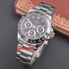 Мужские светящиеся повседневные часы PARNIS 39 мм, полностью хронограф, сапфировый кристалл, черный циферблат, блестящий стальной ремешок