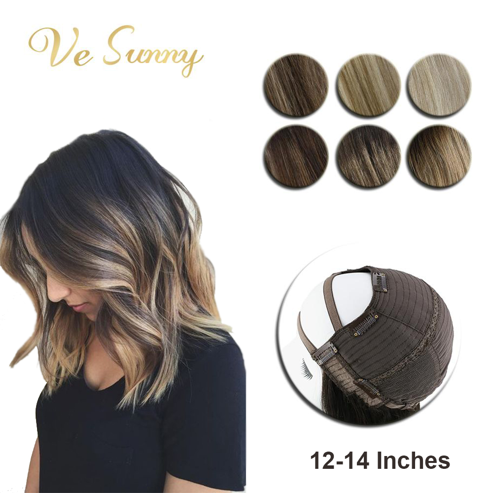 VeSunny U Part Half Wig Real Human Hair With Clips On No Lace Balayage Color Ombre Highlights Shoulder Length Short Hair